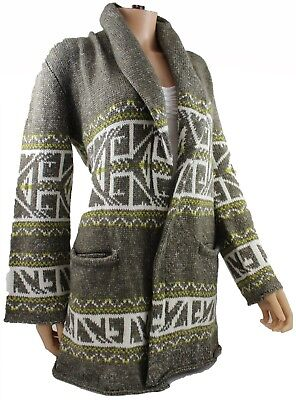 KERSH Ladies Wrap Around CARDIGAN Chunky Knit Jacquard ASHWOOD Brown Fawn XL 16