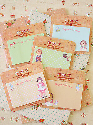 Paperdoll Mate Memo It Sticky Notes cute cartoon doll girls message note pad