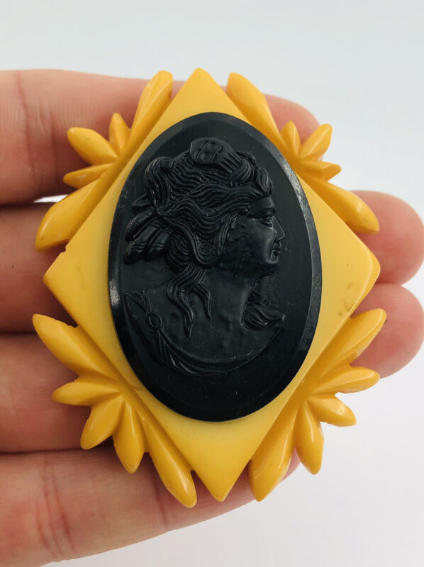 Large Vintage Carved Butterscotch Bakelite Celluloid Cameo Pin Brooch