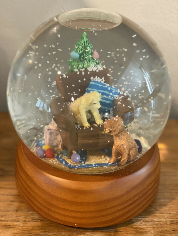 Pottery Barn Kids Snow-globe W/ Two Dogs Celebrating Christmas Snow Globe,