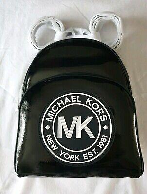 Michael Kors Fulton Sport black patent leather logo medium Backpack