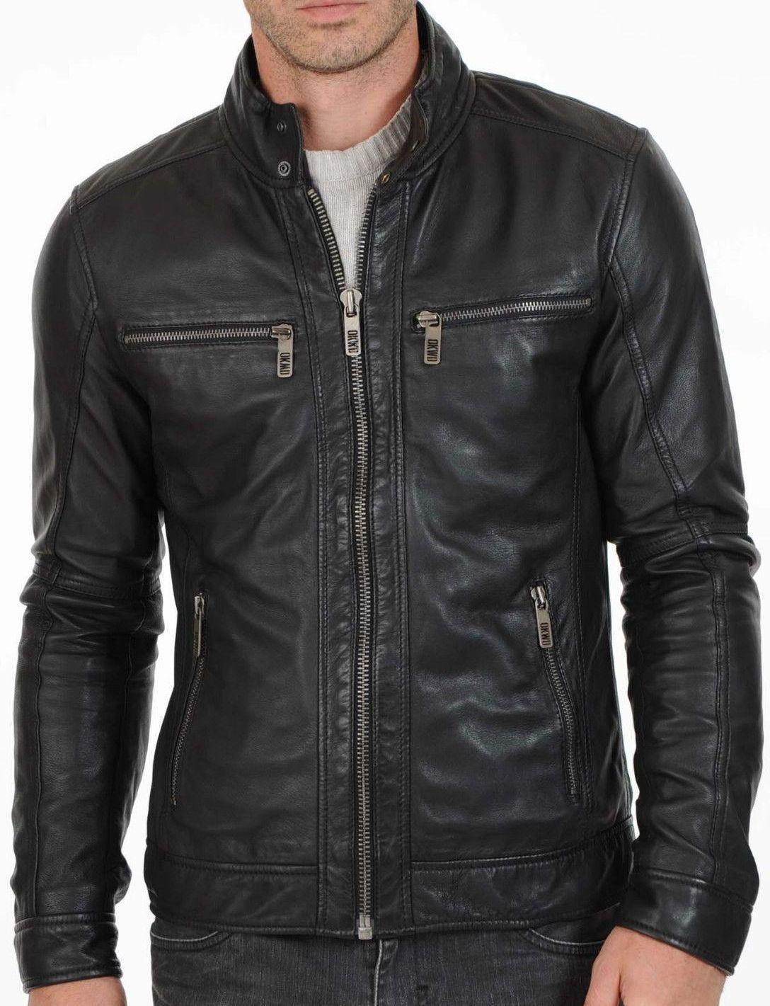 Men Genuine Lambskin Leather Motorcycle Slim fit Jacket Bomb