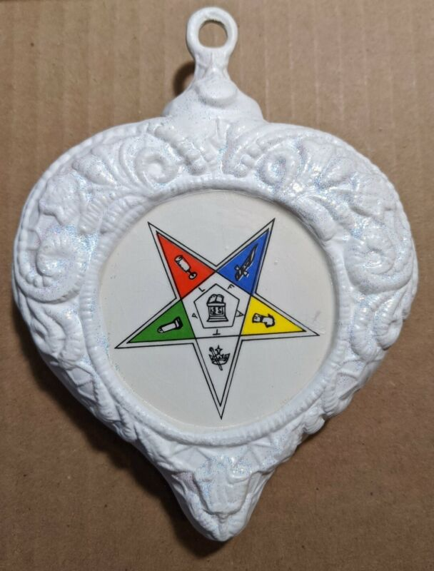 Vintage Masonic Order of the Eastern Star Christmas Tree Ceramic Ornament