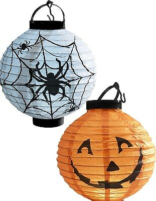 Battery Operated Paper Halloween Lanterns (Halloween Light Up Paper Lantern Spider Pumpkin Battery Operated Party)