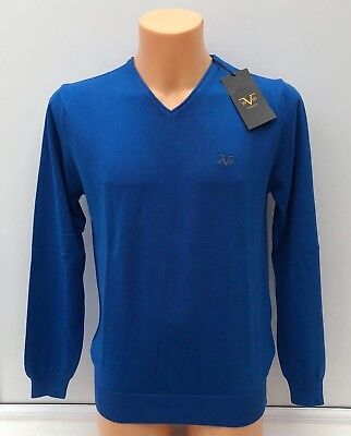 VERSACE 1969 Embroidered Logo Saxon Blue Lightweight V-Neck Jumper Size M BNWT
