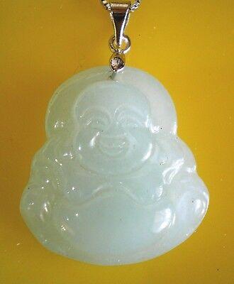 Light Green Jade Pendant (Good Luck & Happiness Green/Light Green Jade Buddha Necklace Pendants )