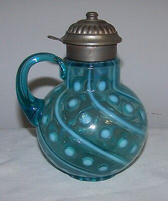 NORTHWOOD BLUE OPALESCENT COINSPOT & SWIRL SYRUP CIRCA LATE 1800'S