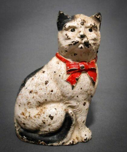 LATE 19TH C ANTIQUE HUBLEY CAST IRON CAT FIGURE BANK, W/ORIG PAINT, SLOT SCREW