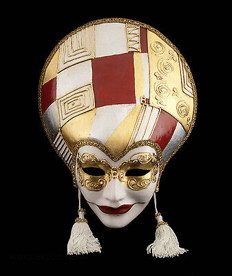 Mask from Venice Volto Liberty Art Deco Red Golden in Paper Mache 996