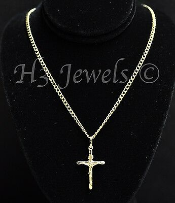 14k solid yellow gold hollow curb chain necklace & cross pendant  #3504 (14k Hollow Cross Pendant)
