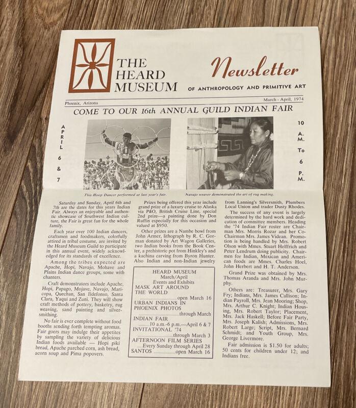 Vintage Heard Museum Newsletter 74' Anthropology & Primitive Art Phoenix Arizona