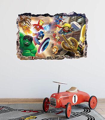 Lego Avengers Marvel Smashed 3D Wall Decal Kids Sticker Vinyl Decor Art DA83 - Lego Decor