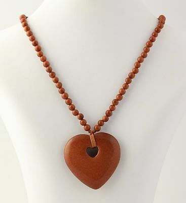 NEW Goldstone Glass Heart Pendant Necklace - 925 Sterling Silver Clasp (Goldstone Heart Necklace)