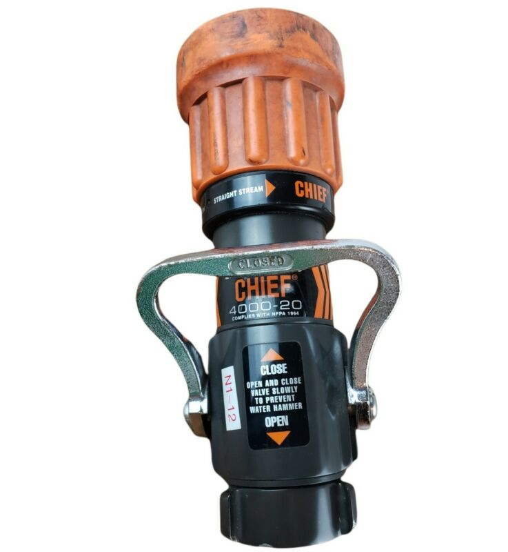 "Elkhart Brass Chief 4000-20 Fire Hose Nozzle Fog Straight Stream 1 3/4"""