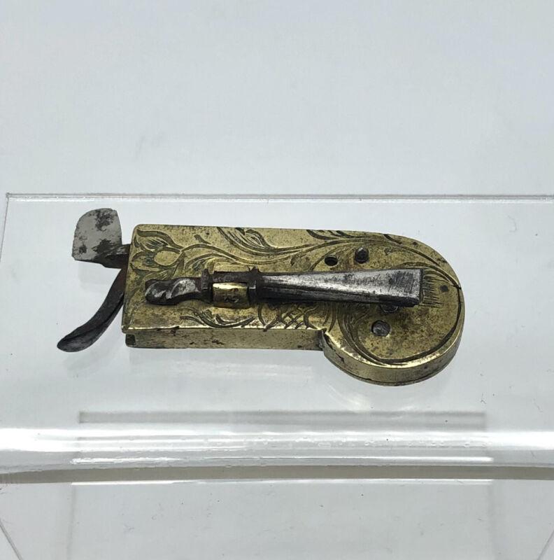 Antique lancet Fleam Surgical Bleeder Brass Engraved Civil War Bloodletting 19c