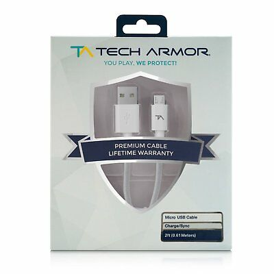 Tech Armor USB A Male to Micro USB M - 2 FT - White