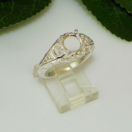 NEW!! 8mm Round Filigree Sterling Silver Pre-Notched Ring Setting Sz8 (#5211)