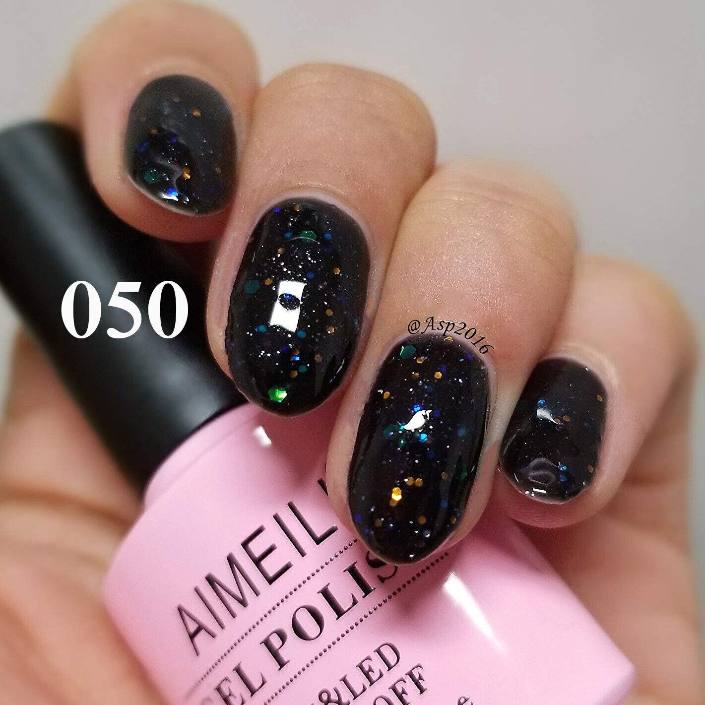 AIMEILI Soak Off UV LED Gel Nail Polish - Black Diamond Glit