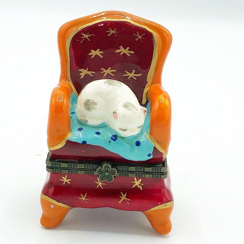 Sleepy Kitty Cat in Comfy Chair Trinket Box