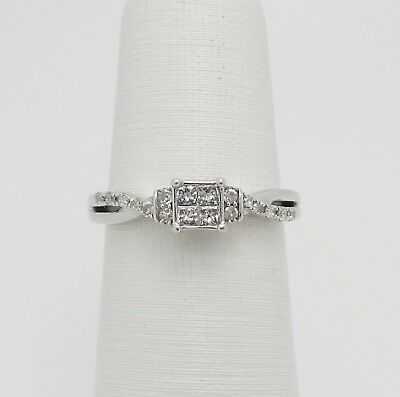 Zales 1 4Ct Princess Cut Quad Diamond Engagement Wedding Ring 10K White Gold