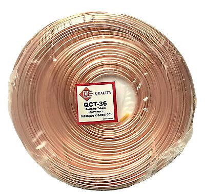 Refrigeration Copper Capillary Tubing 0.036 Id X 0.087 Od X 100 Ft Roll