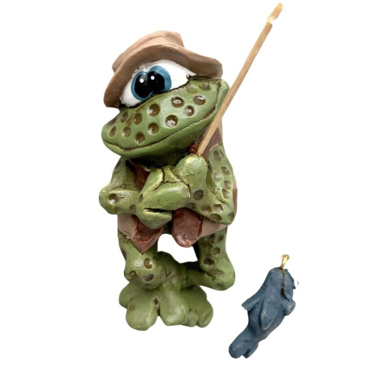 Anthropomorphic Frog Fishing Refrigerator Magnet Rare Vintage Russ Berrie NEW