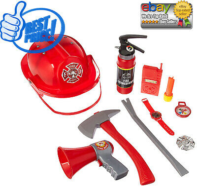 10 Pcs Fireman Gear Firefighter Costume Role Play Toy Set for Kids with Helmets