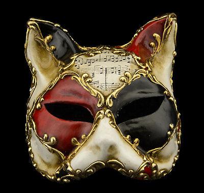 Mask from Venice Cat Gatto Musica Paper Mache Red Black Golden 22327 -V78