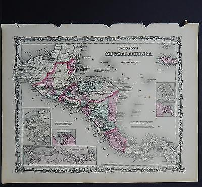 Antique Map Johnson's 1862, Single Page, Central America M10#04
