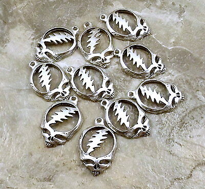 10 Pewter Grateful Dead Head Charms - 5204