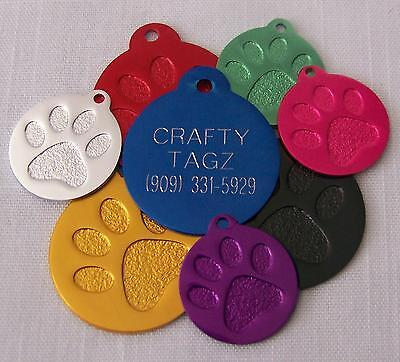 Katze Custome (PET TAGS PAW PRINT ENGRAVED FOR DOG OR CAT CUSTOM ENGRAVED CIRCLE CHARM TAG)