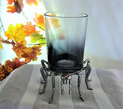 Halloween Spooky Spider Red Eyes Glass & Metal Pillar Ombre Candle Holder - Red Eyes Halloween