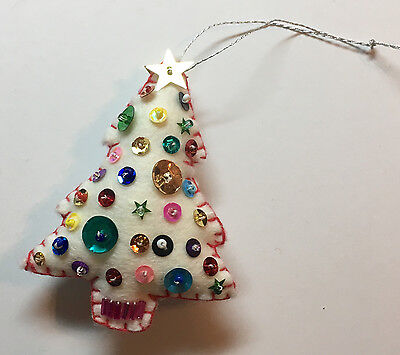 Handmade White Felt Christmas Tree Ornament - red stitching, beads, sequins