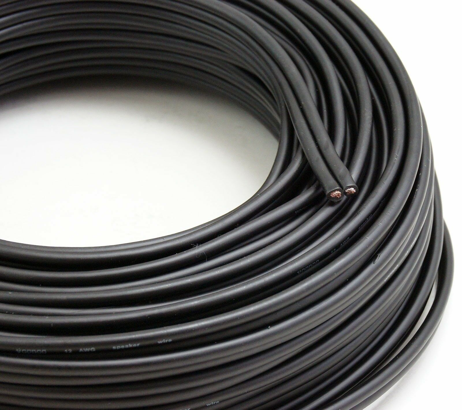 voodoo black speaker wire 16 gauge true awg true spec 100ft home car audio ebay. Black Bedroom Furniture Sets. Home Design Ideas