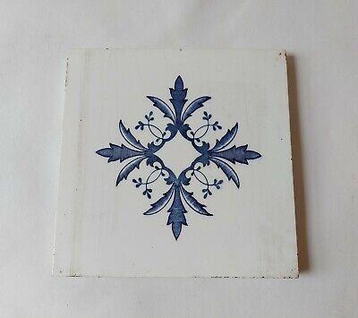 Antique Art Nouveau Ceramic Fireplace Tile Blue Geometric Design 15.3cm