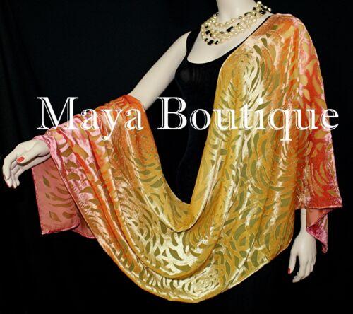 Maya+Matazaro+Hand+Dyed+Orange+Gold+Camellia+Shawl+Wrap+Scarf+Burnout+Velvet+