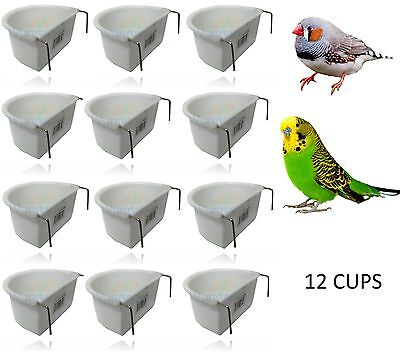 WUNDAPET 6.5 CM D-SHP PLASTIC BIRD BUDGIE PARROT CAGE HANG FEEDER COOP CUP 12PK