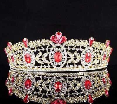 Regal Red Austrian Crystal Rhinestone Tiara Crown Prom Pageant Bridal Wed T78r](Ruby Tiara)