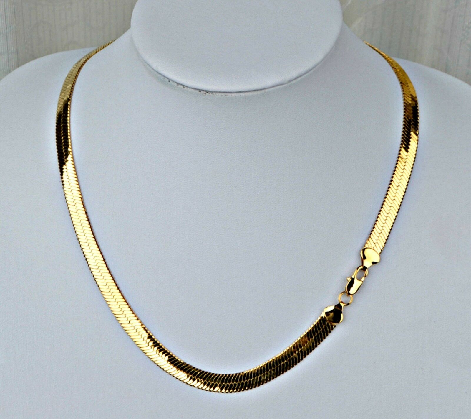 $15.47 - NEW PVD BONDED 18k GOLD Men's & Woman's 6½mm HERRINGBONE CHAIN Necklace -4 SIZES