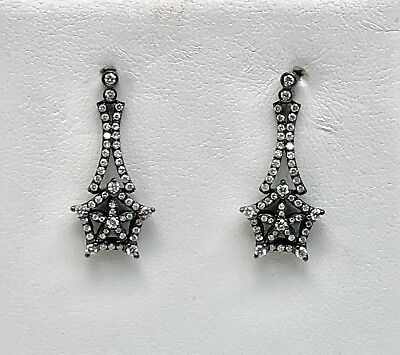 18k Black Rhodium Pentagon Star Diamond Drop Earrings 0.63 Carat 106 RD Diamonds