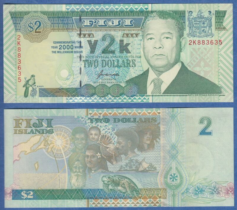 FIJI 2 Dollars P 102 UNC 2000 Millennium Low Shipping! Combine FREE!