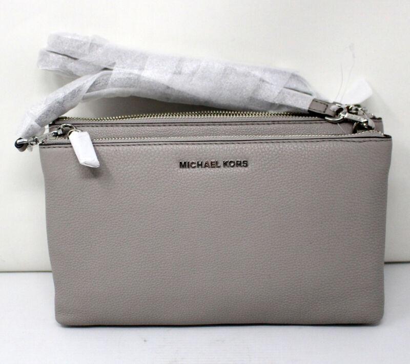 Michael Kors Crossbodies Double Zip Leather Crossbody Bag Pearl Grey