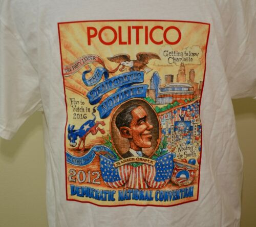 RARE 2012 Democratic National Convention t-shirt white XL/large Obama Politico