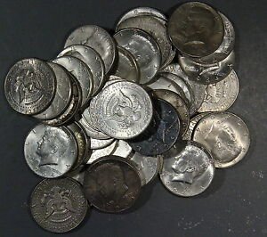1964 KENNEDY HALF DOLLARS, LOT OF 6 90% SILVER