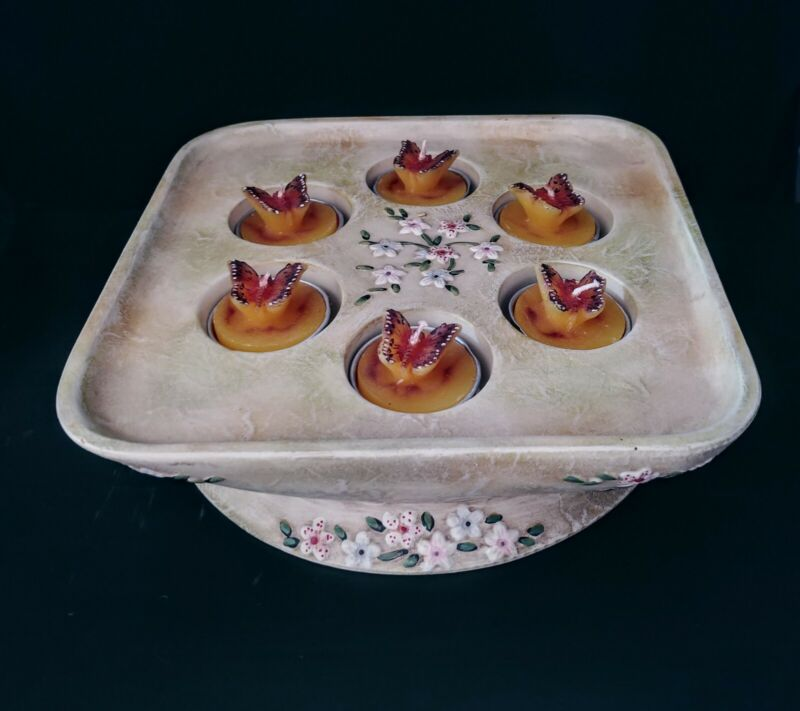PartyLite Terrace Blossoms Tea Lights Candles Ceramic Holder w/Butterfly Candles