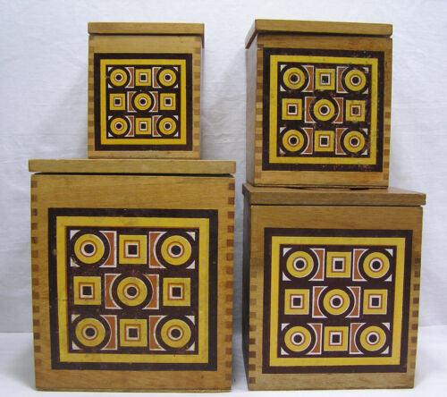 Vtg MCM Sienaware Wood 4 Piece Canister Set Geometrics on Front Made in Japan