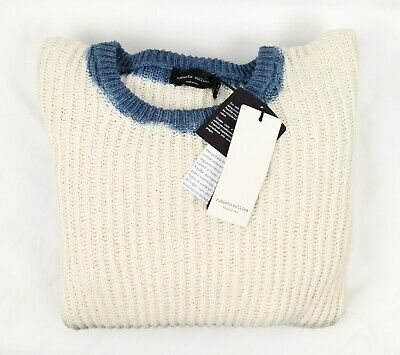 Roberto Collina Chunky Knit Beige/Gray Ombre Crewneck Sweater Italy Size 54 NWT