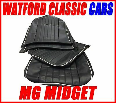 MG Midget / Sprite  of Seat Covers 1970 - 1981 Leather look Black / White
