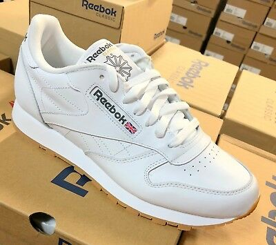Reebok Classic Leather 49797 White Gum Sole Mens Shoes Fashion Sneakers Sizes (Classic Leather Sneakers)