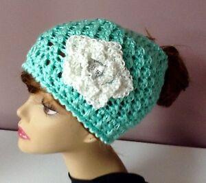 Crocheted ponytail / messy bun hat